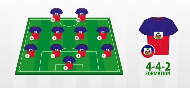 Haiti national football team formation on football field.