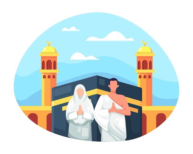 Hajj 및 umrah 일러스트 디자인입니다. 이슬람 커플이 이슬람 하지 순례를 하고 있으며, 커플 이슬람교 앞 카바 메카는 이람을 입고 있습니다. 사람 캐릭터와 함께 이드 알 아다 무바라크. 평면 스타일의 벡터