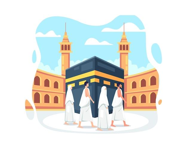 Hajj 및 umrah 일러스트 디자인입니다. 이슬람 하지 순례를 하는 무슬림, 이람을 입고 하지 순례를 하는 사람들. 사람 캐릭터와 함께 이드 알 아다 무바라크. 평면 스타일의 벡터 일러스트 레이 션
