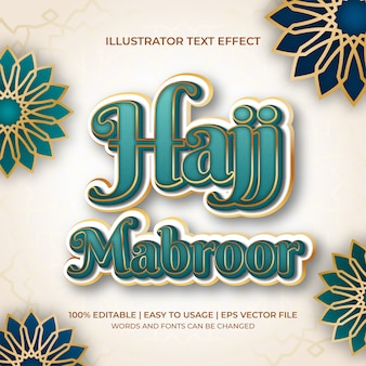 Hajj mabroor text effect in turqoise and gold