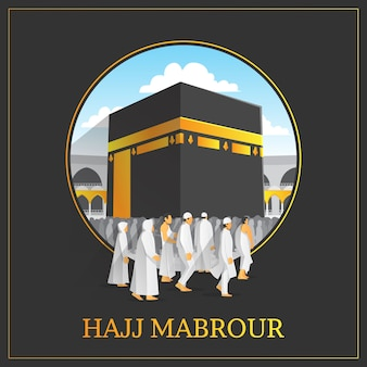 Hajj mabrour background with holy kaaba and people