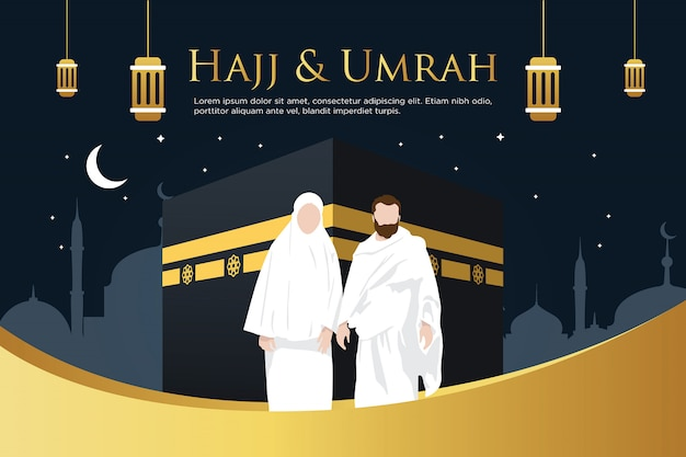 Hajj mabrour background with kaaba premium vector