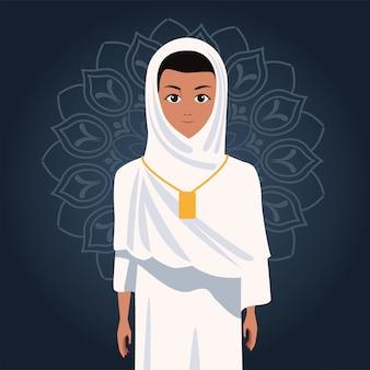 Hajj mabrour celebration with woman islamic pilgrim
