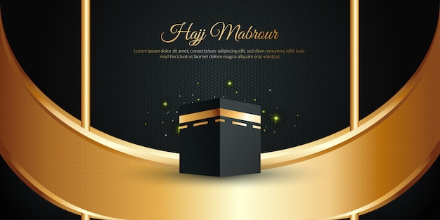 Hajj mabrour concept with kaaba and golden text