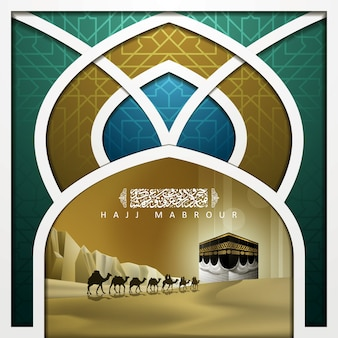 Hajj mabrour greeting islamic illustration background   design with kaaba and desert
