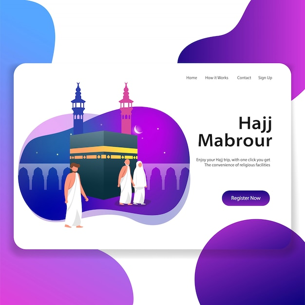 Hajj mabrour landing page web illustration
