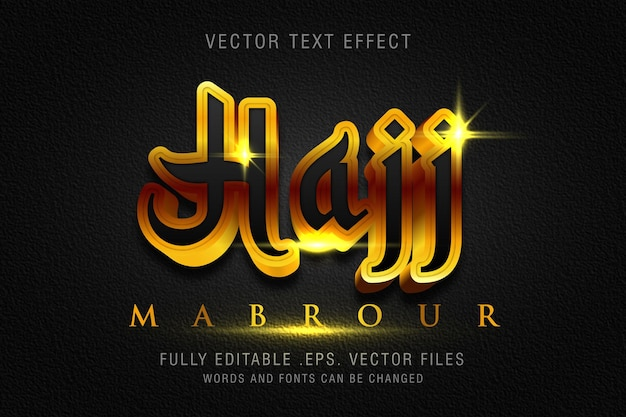 Hajj mabrour text style effect