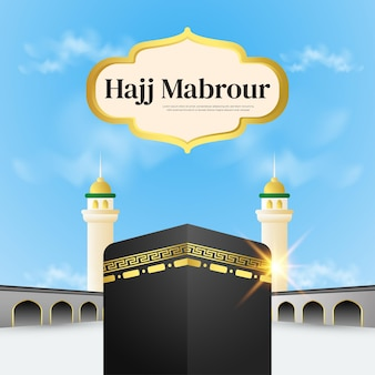 Hajj mabrour with kaaba on bluesky background