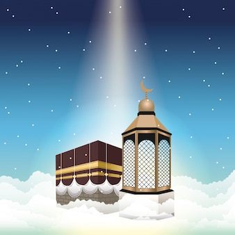 Hajj mabrur celebration with mataf and lantern