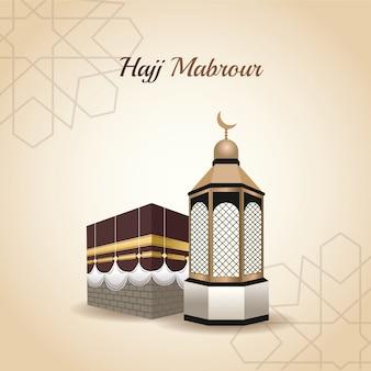 Hajj mabrur celebration with mosque tower vector illustration design