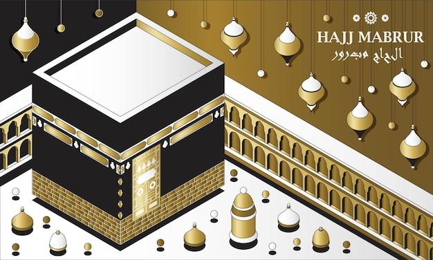 Hajj mabrur 이슬람 배경 아이소메트릭 인사말 카드에는 카바 전통 등불과 모스크가 있습니다...