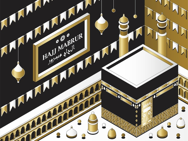 Hajj mabrur islamic background isometric greeting card with kaaba traditional lanterns mosque and ga...