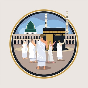 Hajj pilgrimage walk and pray around kaaba