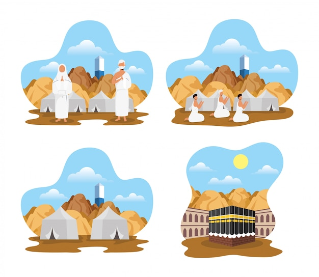 Hajj pilgrimage with people and icons scenes