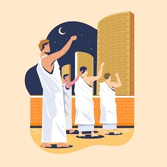 Hajj 순례자는 악마의 기둥을 돌로 깎는다 이슬람의 신성한 순례 단계 중 하나. 자마 랏이라고합니다
