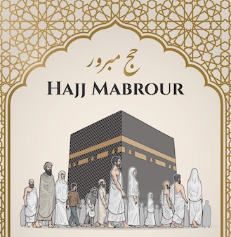 Hajj & umrah hatching illustration