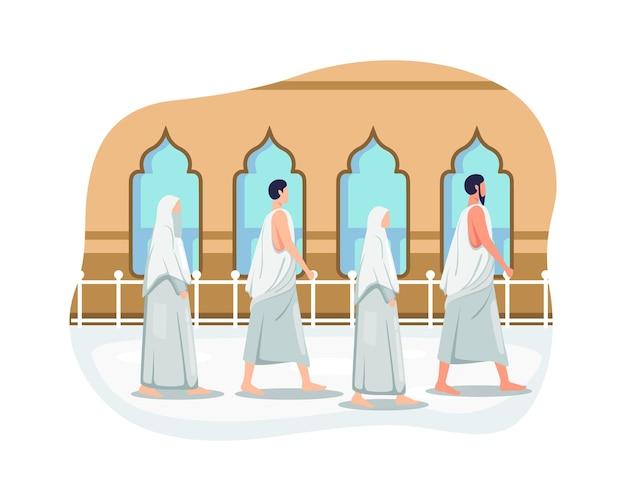 Hajj and umrah illustration design. muslims doing islamic hajj pilgrimage, people in hajj pilgrimage wearing ihram. eid al adha mubarak with people character. vector illustration in a flat style