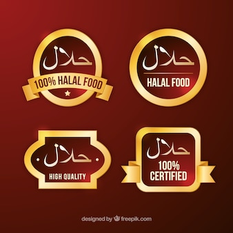 Halal food label collection with golden style