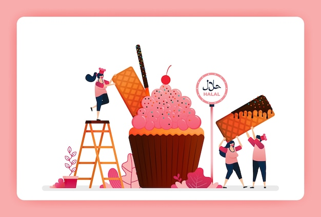 Halal food menu illustration of sweet strawberry cupcake.