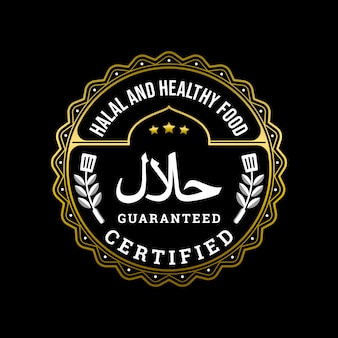 Halal and healthy food certified badge logo