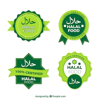 Halal stamp collection with flat design