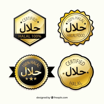 Halal stamp collection with golden style