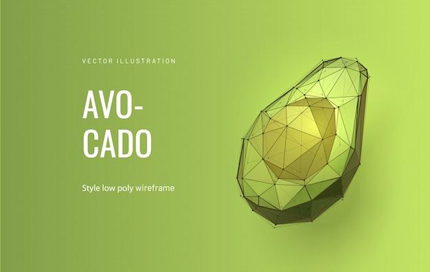 Половина авокадо низкополигональная иллюстрация