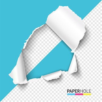 Half blank torn paper hole with ripped edge.