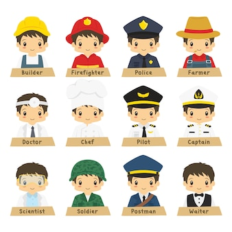 Half body male professions vector collection