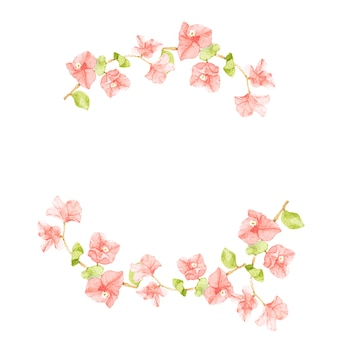Half circle wreath frame of watercolor pink bougainvillea