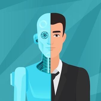 Half cyborg, half human man businessman in suit