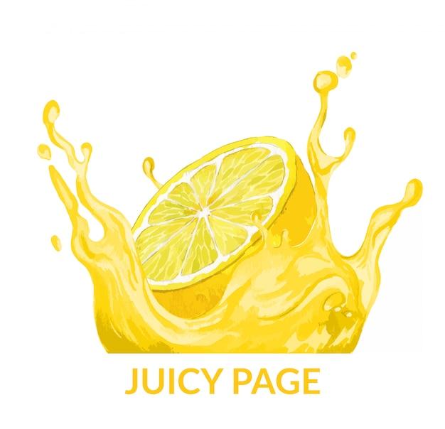 Half of lemon falling in the yellow juice splash