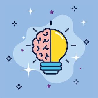Half of light bulb and brain creativity