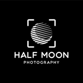Half moon with focus of the camera lens logo for photography template design