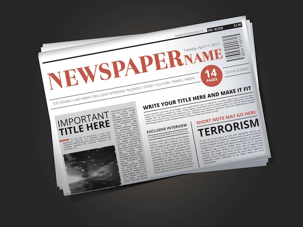 Half of newspaper template with headline.  illustration newspaper print with news column