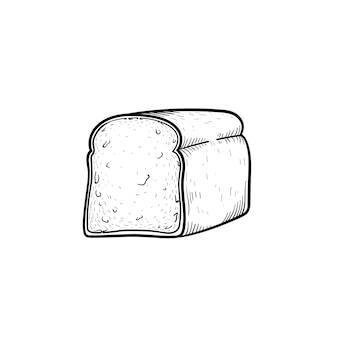빵 손으로 그린 개요 낙서 아이콘의 절반입니다. 흰색 배경에 격리된 인쇄, 웹, 모바일 및 인포그래픽을 위한 샌드위치 벡터 스케치 삽화를 위한 토스트 빵입니다.