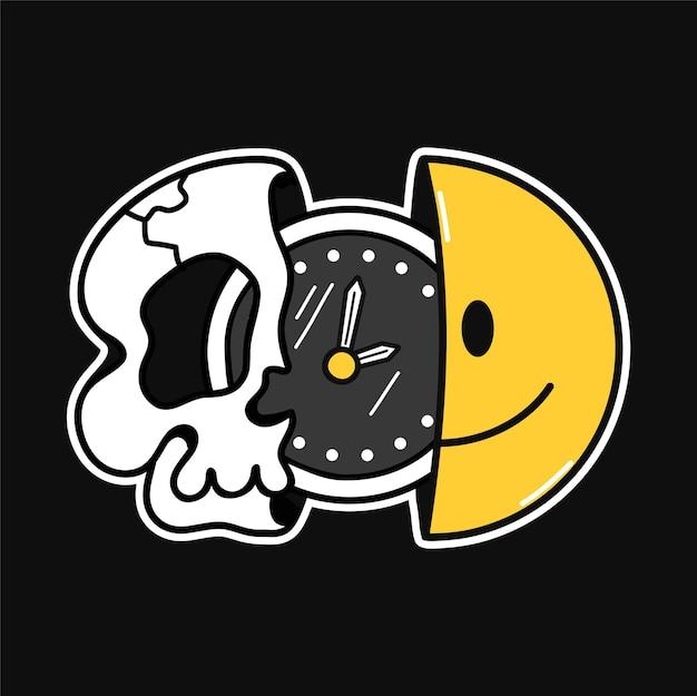 티셔츠 안에 시계가 있는 웃는 얼굴과 해골의 절반, 티셔츠 인쇄. 벡터 라인 70년대 스타일 문자 그림입니다. trippy 반 두개골, 웃는 얼굴, 티셔츠, 포스터, 카드, 스티커 개념을 위한 시계 인쇄