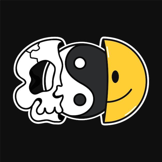 웃는 얼굴과 두개골 안에 음양이 있는 티셔츠, 티셔츠 프린트의 절반. 벡터 라인 70년대 스타일 문자 그림입니다. trippy 반 두개골, 웃는 얼굴, 티셔츠, 포스터, 카드, 스티커 개념을 위한 음양 인쇄