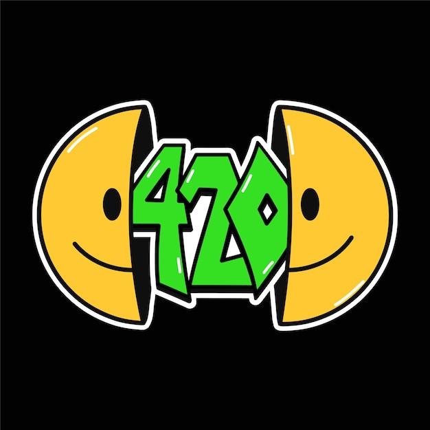 내부에 420개의 인용문이 있는 웃는 얼굴의 절반, 티셔츠, 티셔츠 인쇄. 벡터 손으로 그린 70년대 스타일 만화 캐릭터 그림. trippy 반 미소, 420, 티셔츠, 포스터, 카드, 스티커 개념을 위한 잡초 인쇄