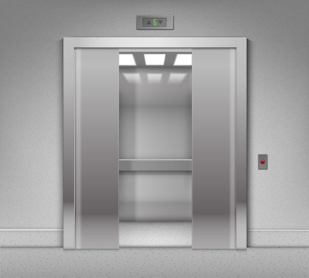 Half open metal building elevator