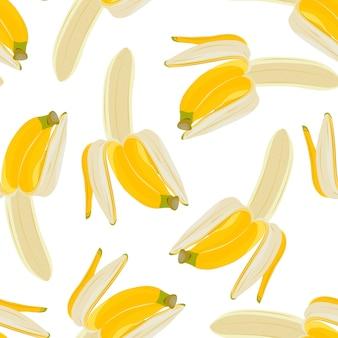 Half peeled banana seamless pattern