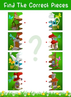 おとぎ話の家や住居のベクトルテンプレートを使用したハーフピースの子供向けゲーム。写真教育ゲーム、パズル、なぞなぞまたは注意テスト、ブーツ付き論理迷路、木の切り株、ティーポット、キノコの家を接続します