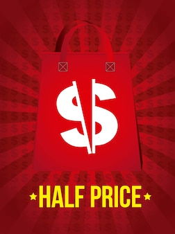 Half price announcement over red background