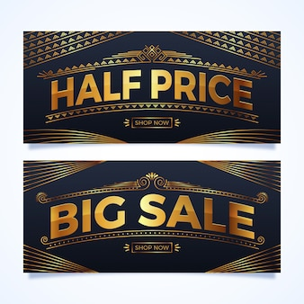 Banner a metà prezzo d'oro in stile realistico