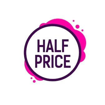 Half price lettering in round frame