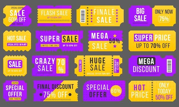 Предложение за полцены, большая скидка по купону на супер распродажу. набор красных билетов и этикеток. вектор