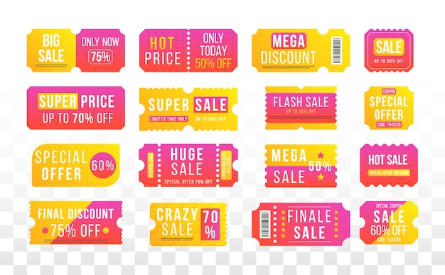 Half price offer, big super sale coupon discount. tickets, labels.