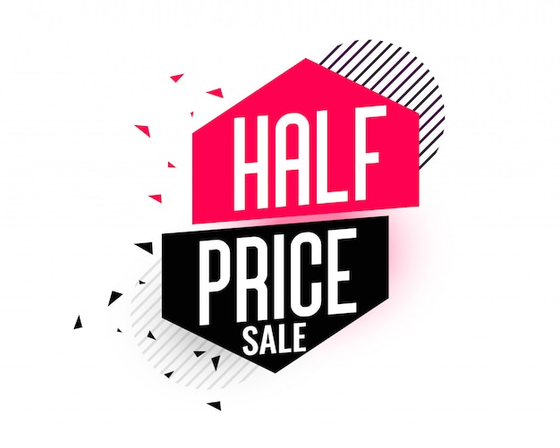 Half price sale banner in memphis style