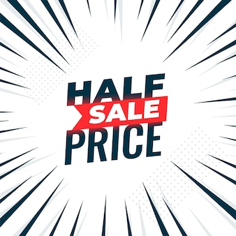 Half price sale banner with zoom lines