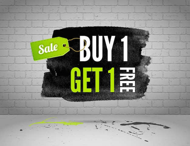 Half price sale watercolor banner with splashes of ink  on brick grunge background